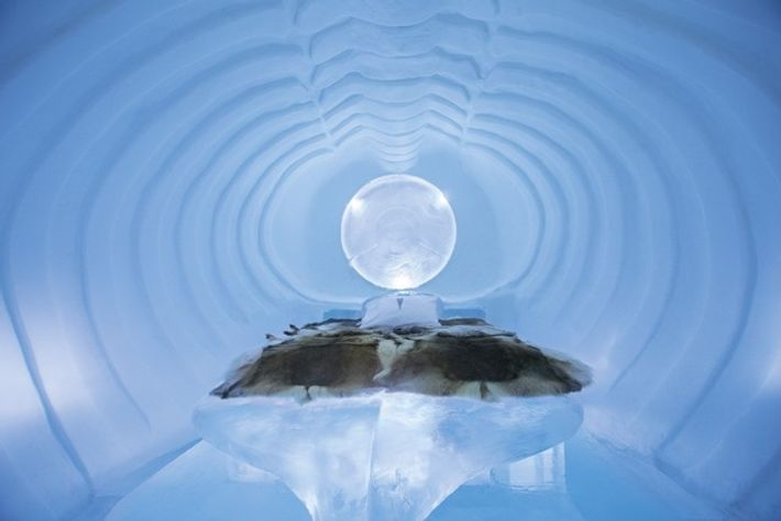 Blue Marine suite at the Icehotel, Jukkasjärvi, Sweden.