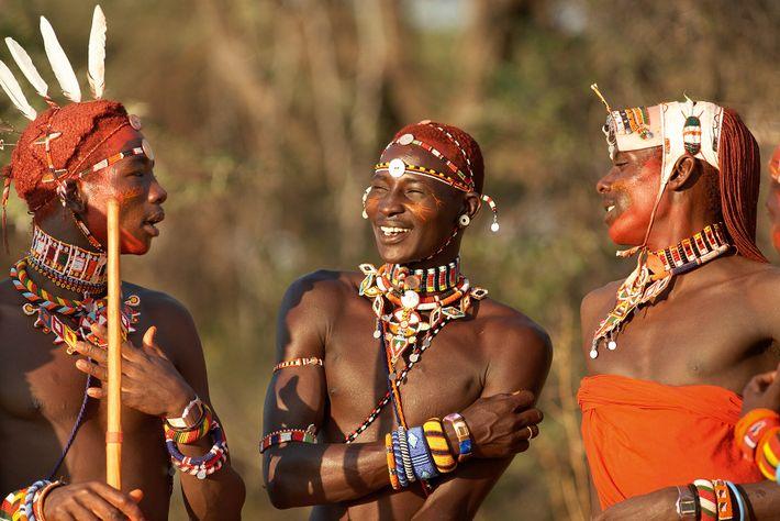 Young Samburu warriors in traditional dress, Kenya.
