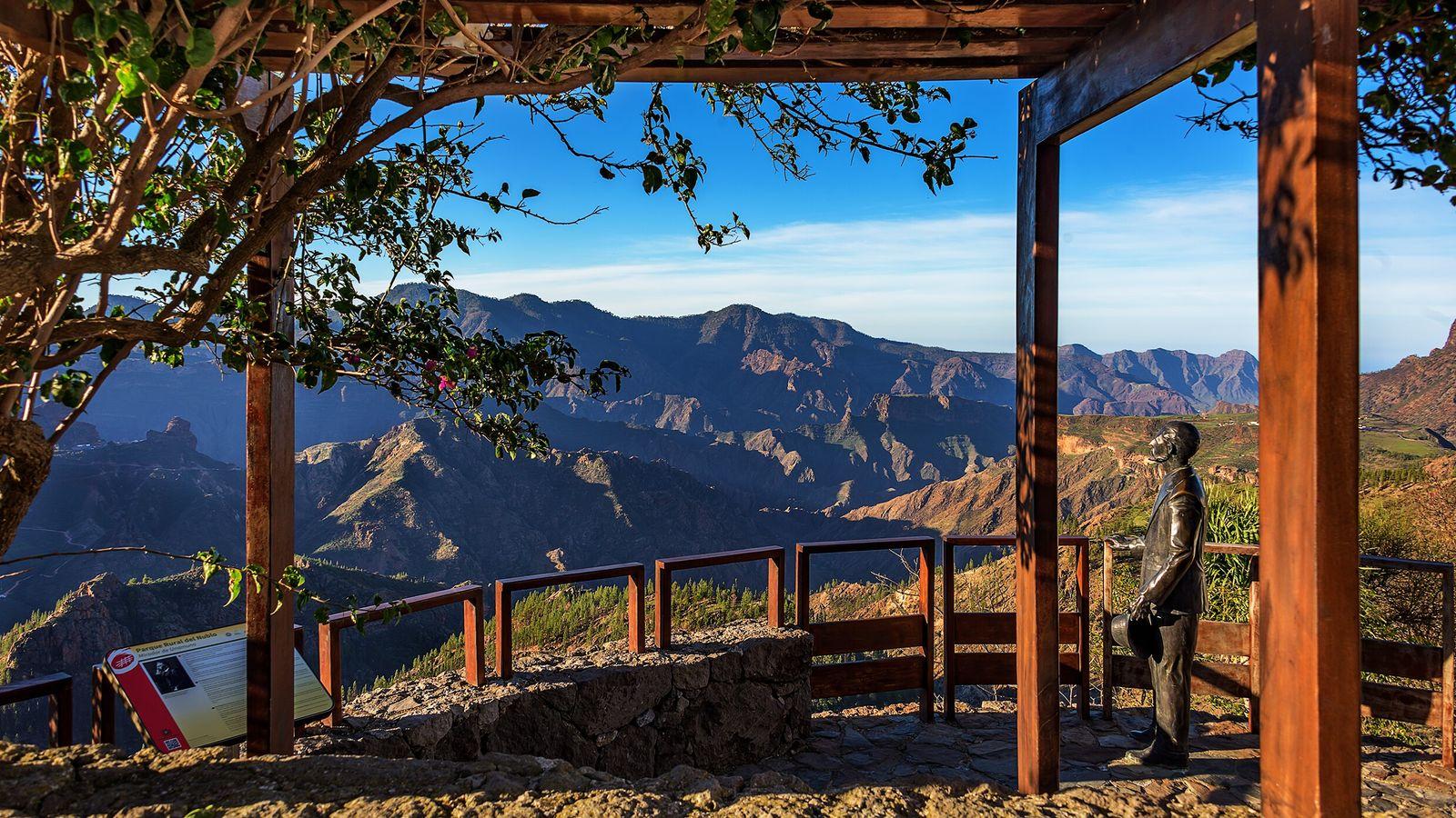Mirador de Unamuno,one of the lookouts in the town of Artenara, locatedin the mountains of Gran ...