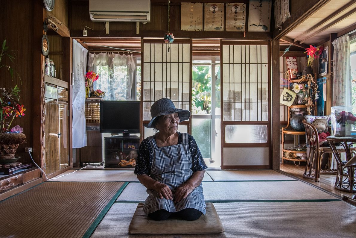 """Misako Miyagi, 88, is """"merely a youth,"""" according to a saying in Ogimi, where there is ..."""