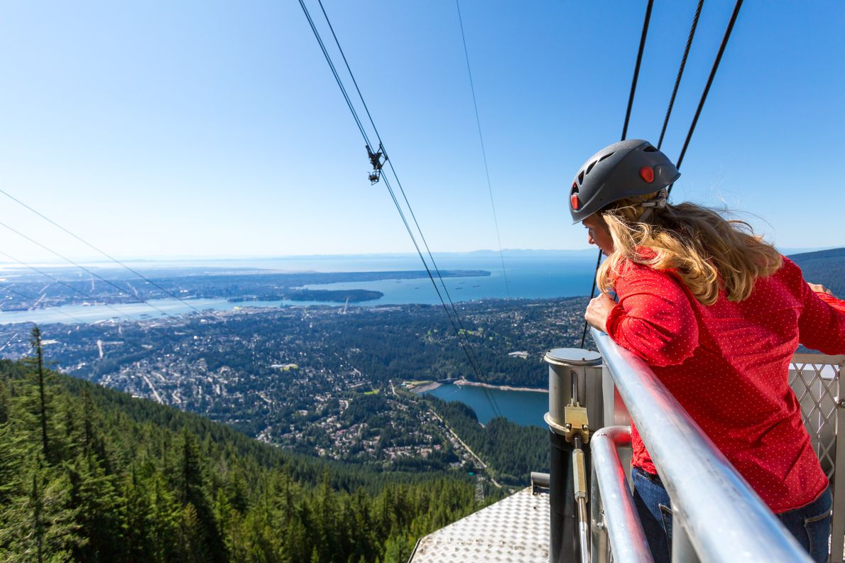 Looking out at the breathtaking views from the Grouse Mountain Skyride.
