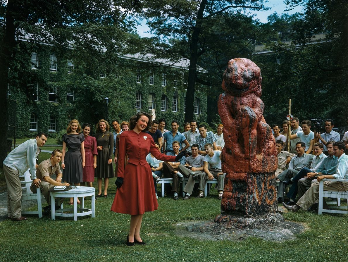 PRE-1947, NEW YORK | A red wool dress is the winner of a fashion show put ...