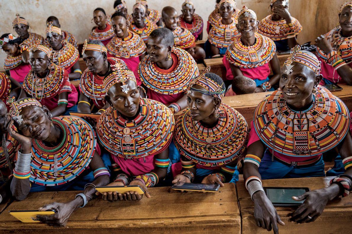 2016, KENYA   The desire to teach their children about computers drew Samburu women to a ...