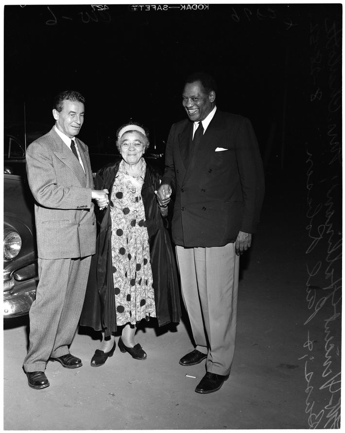 Charlotta Bass, vice-presidential candidate for the Progressive Party in 1952, poses with her running mate Vincent ...