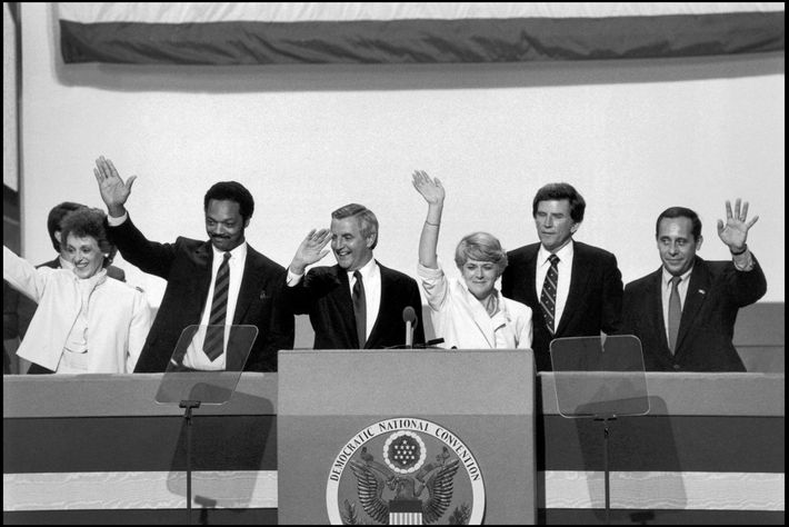 Vice-presidential candidate Geraldine Ferraro celebrates her nomination with running mate Walter Mondale (left) and other Democratic ...