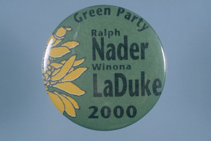 A button celebrates the presidential campaign of Ralph Nader and Winona LaDuke, candidates for the Green ...