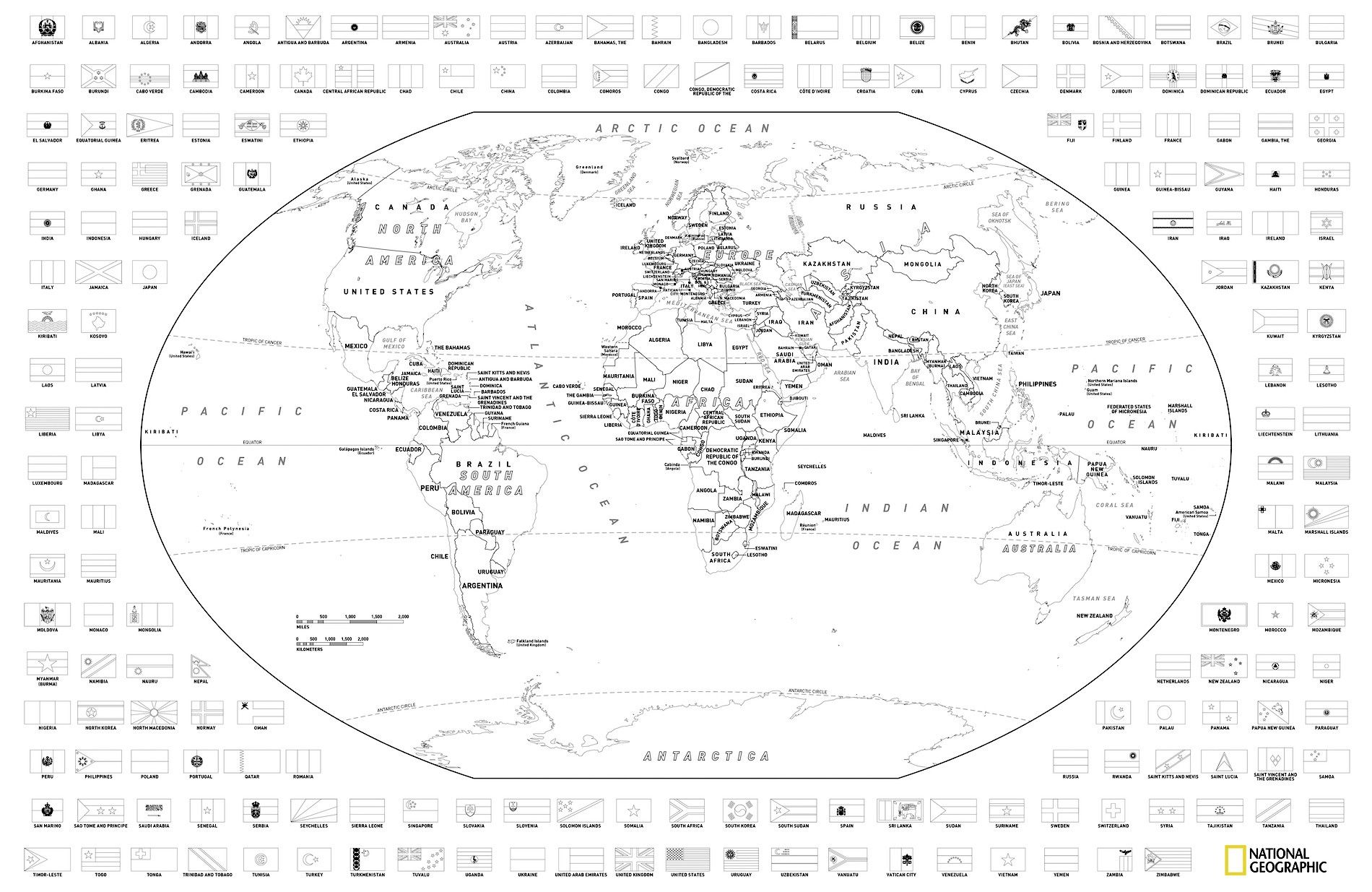 - Colour A World Map With Flags National Geographic