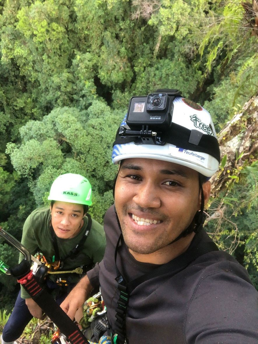 Climbers take a moment for a selfie to record their progress. First timers take so long ...
