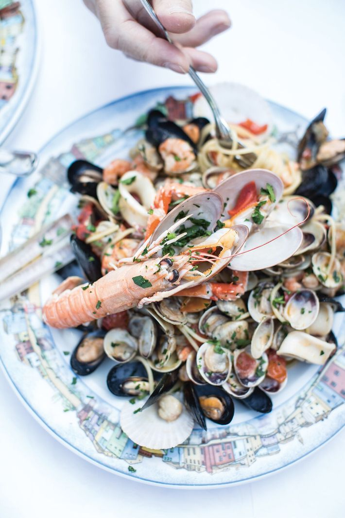 Linguine with seafood by Katie & Giancarlo Caldesi.