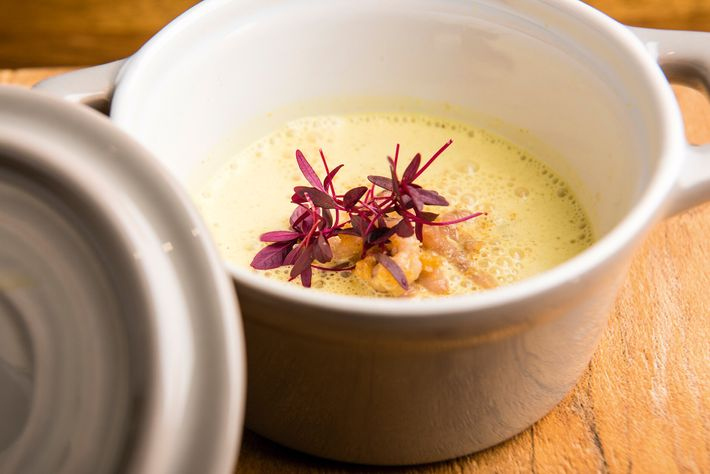 Morecambe Bay potted shrimp with curried cauliflower velouté at Kysty, Ambleside.