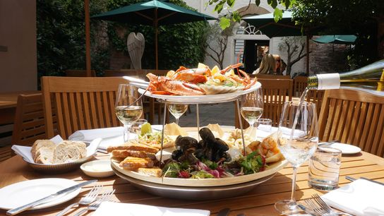 Seafood platter at The Angel Hotel, Abergavenny.