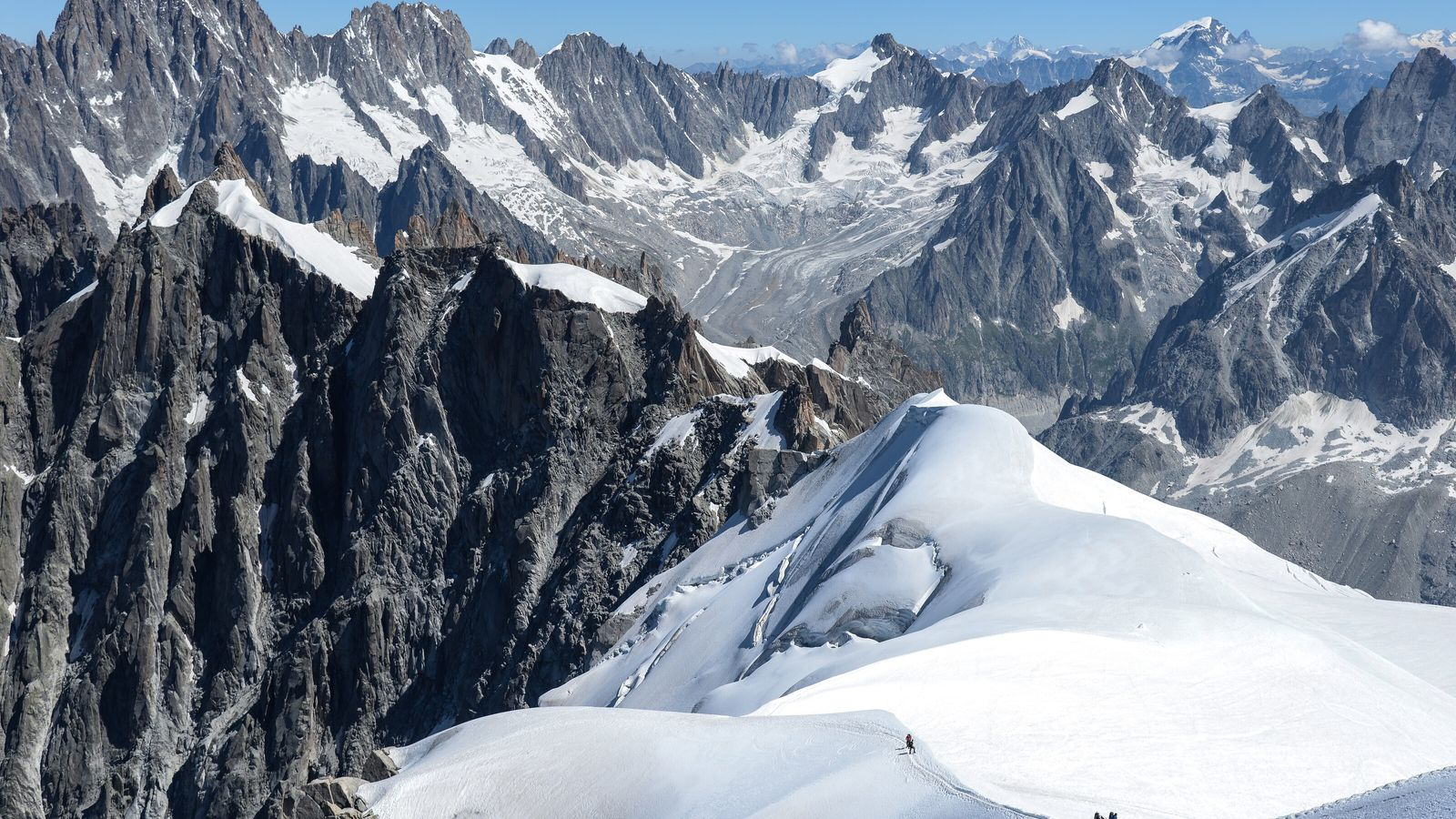 Snow-capped mountains in France's Chamonix-Mont-Blanc Valley.
