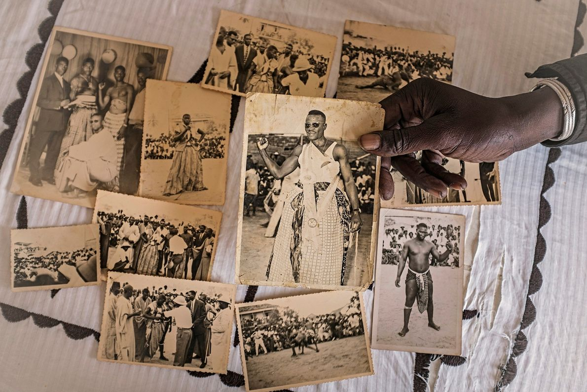 Photographer Freekis Ndoye from Dakar shows historical pictures of wrestlers from the 1950's. The first wrestler ...