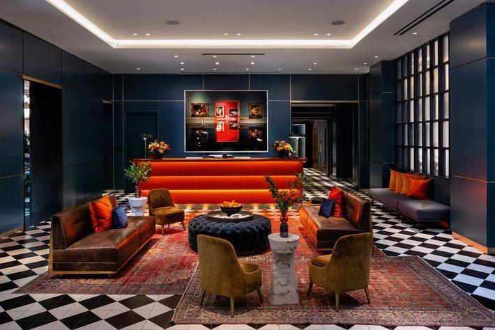 Lobby at Dream Nashville, astylish hotel on buzzing Printer's Alley.