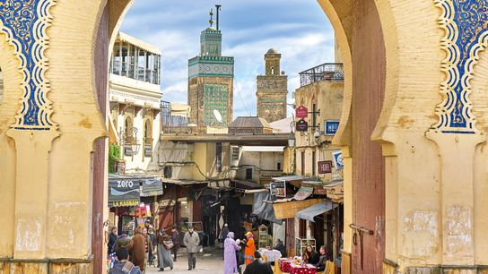 Bab Bou Jeloud is a gate inthe old city of Fez, Morocco.