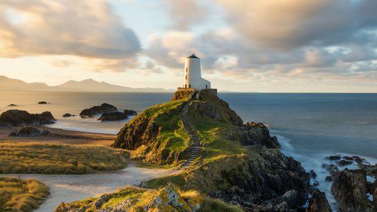 Morning light at Llanddwyn Lighthouse on the south coast.