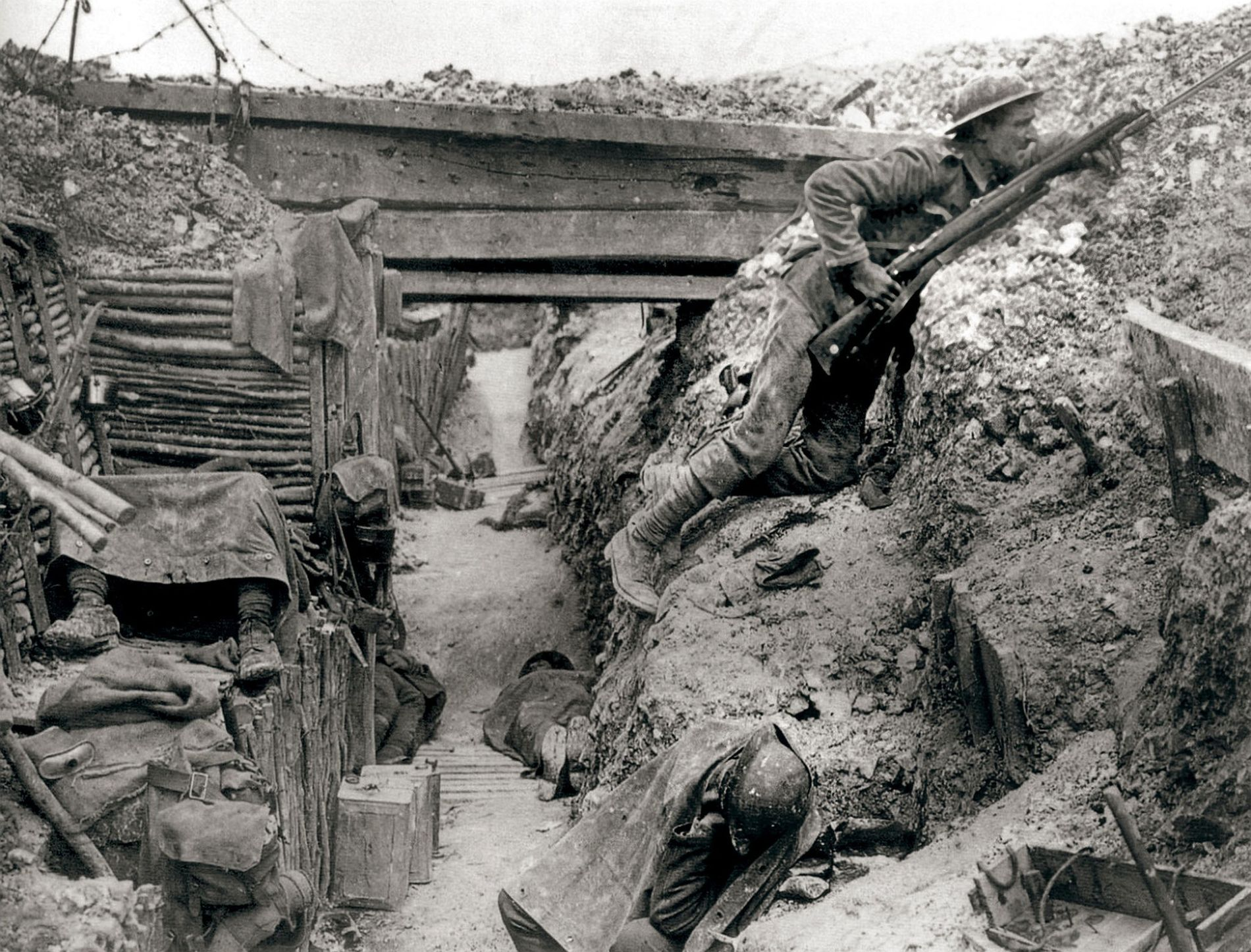 Trench warfare was a critical component in European theatre of World War I. Here, British soldiers ...