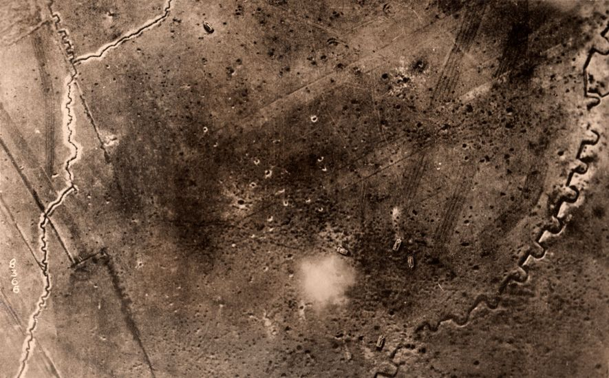 Archaeologists rely on aerial photographs taken during World War I to reconstruct the warscape. This photo, ...