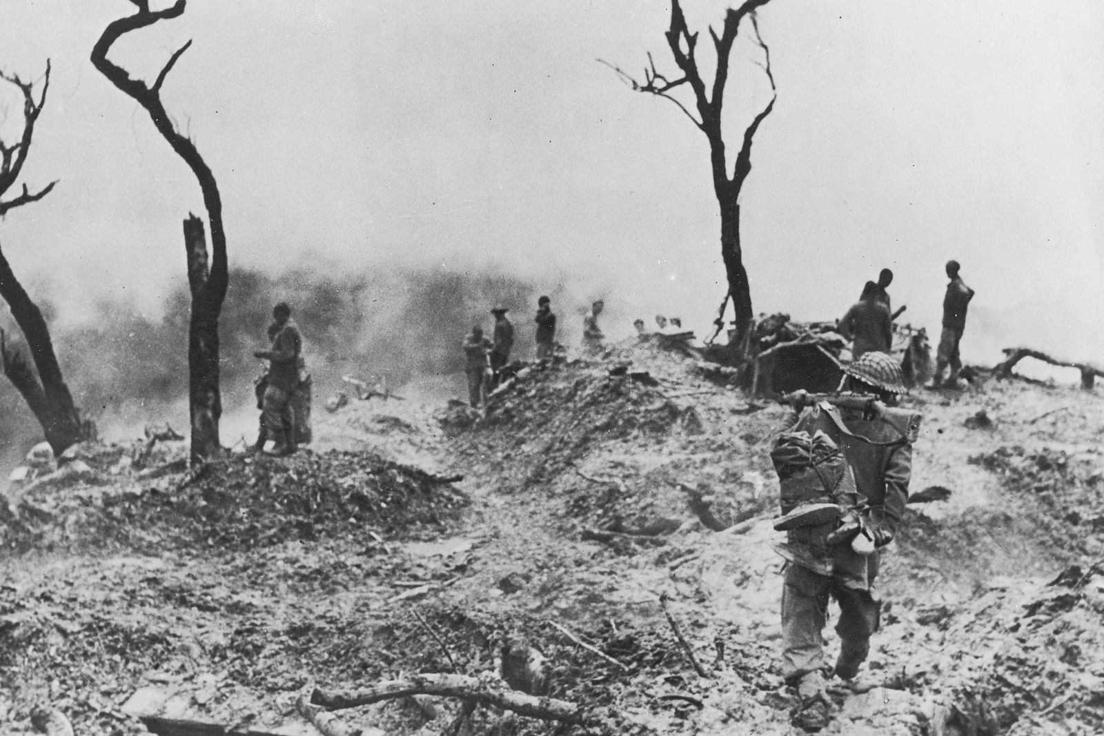 Allied troops regroup after a battle with Japanese forces near Imphal, capital of the Indian state ...