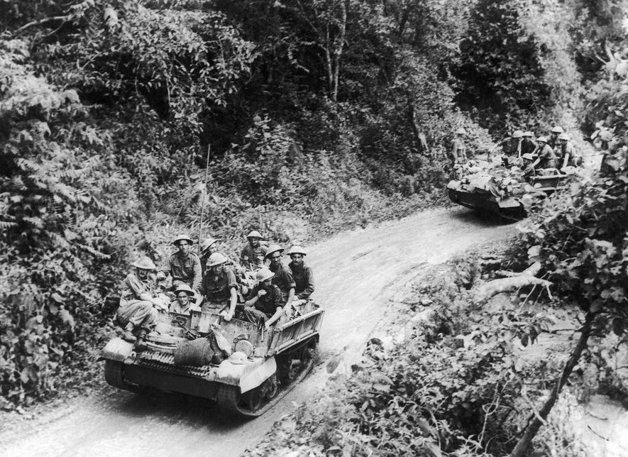 British troops advance to liberate the Imphal-Kohima road, a crucial artery in northeastern India, in November ...