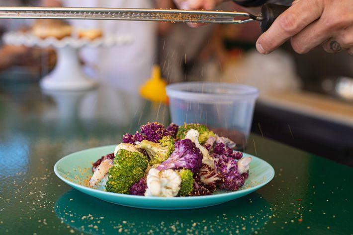 A brightly coloured brassica salad at Pastel Rita.