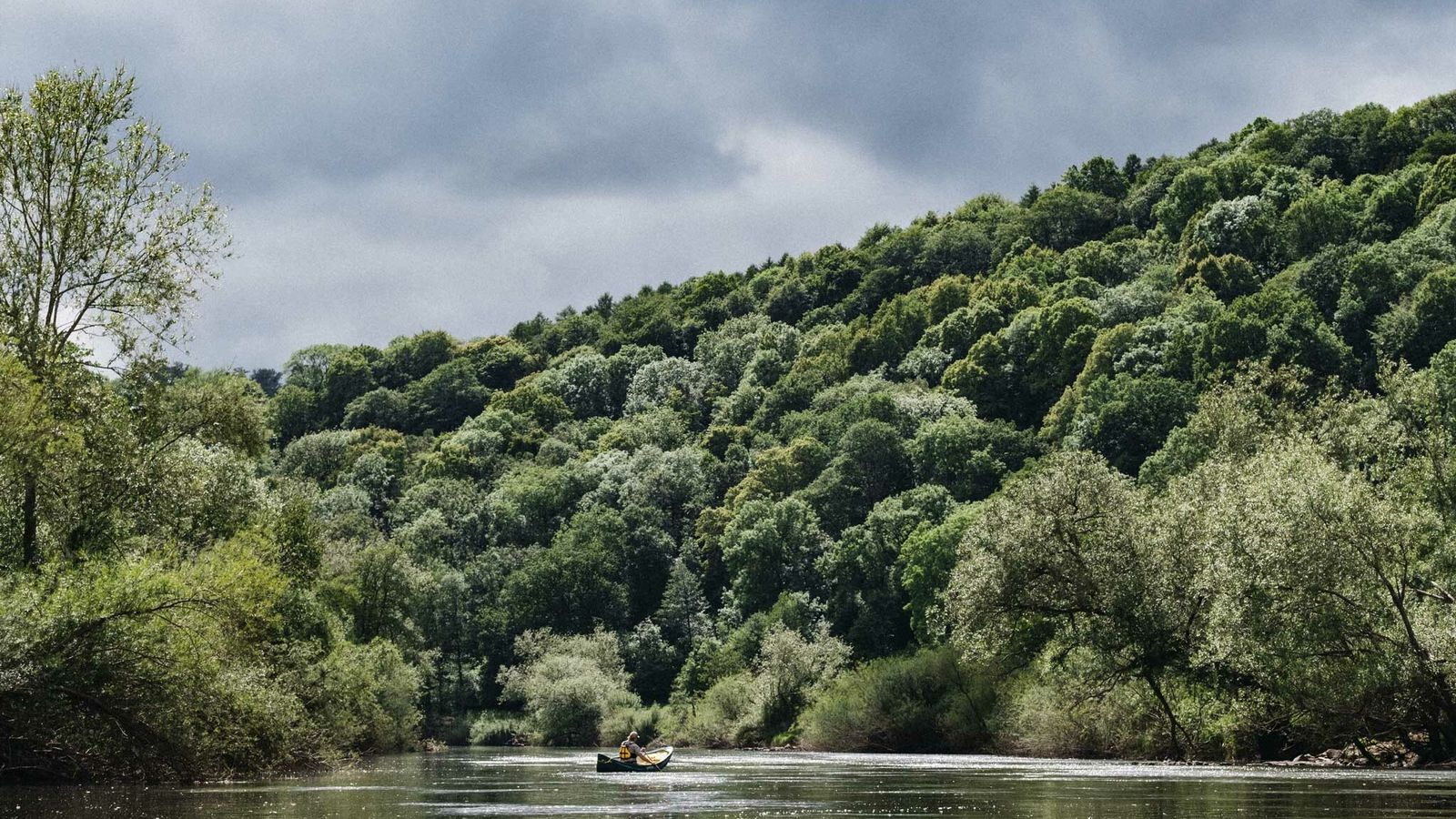Canoeing on the River Wye near Welsh Bicknor with Stuart Wyley of Wye Canoes.