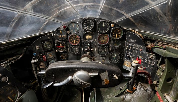 A pilot's eye view inside the Bell X-1 reveals 1947-spec instrumentation similar to fighter planes of ...