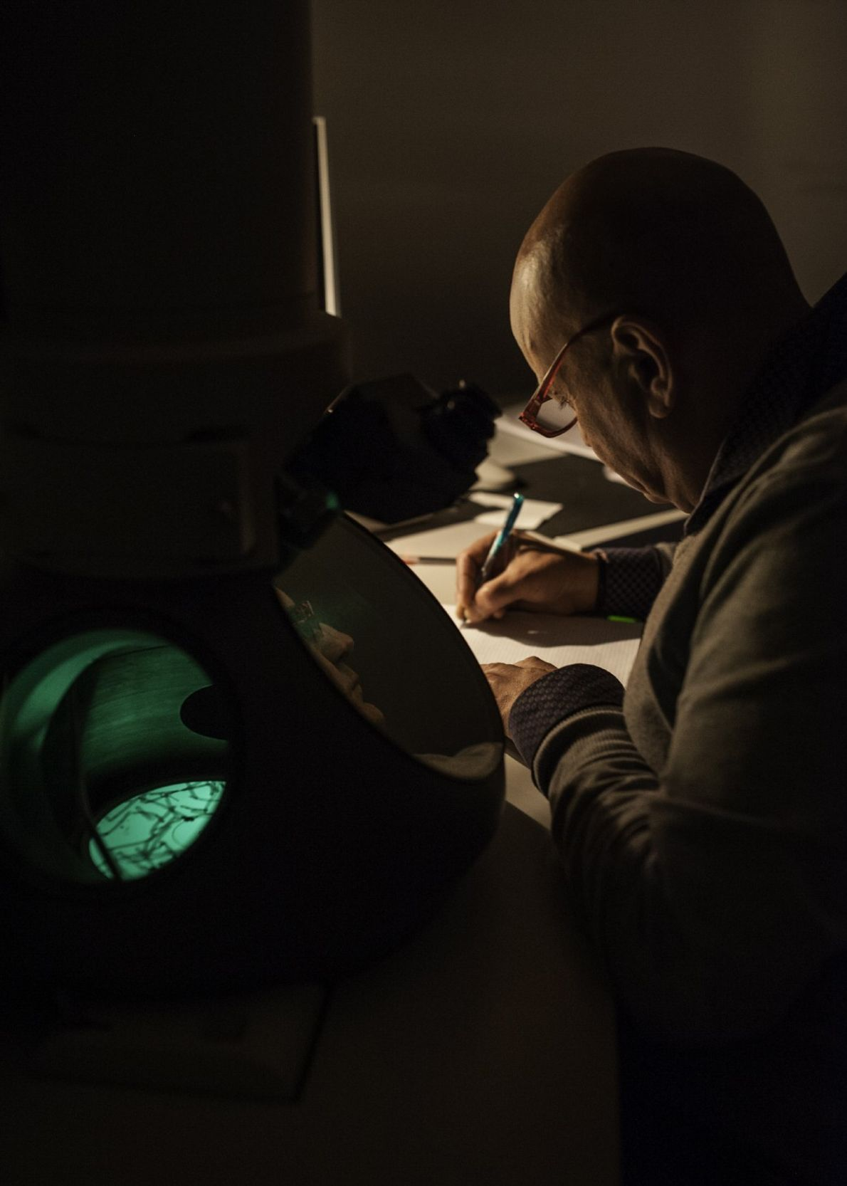 Angelo De Stradis, a scientist at the Italian National Research Centre (CNR) in Bari, uses a ...