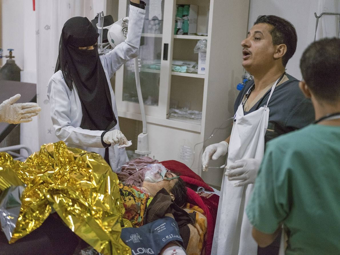 Doctors and nurses at the Mother and Child Hospital trauma centre stabilise 25-year-old Imar Abdu Najei, ...