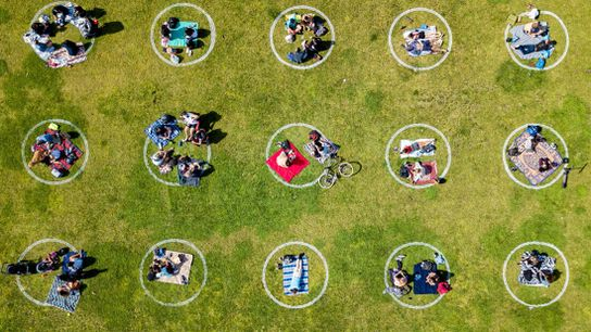 Kids and families get creative practicing social distancing at Dolores Park in San Francisco on May ...