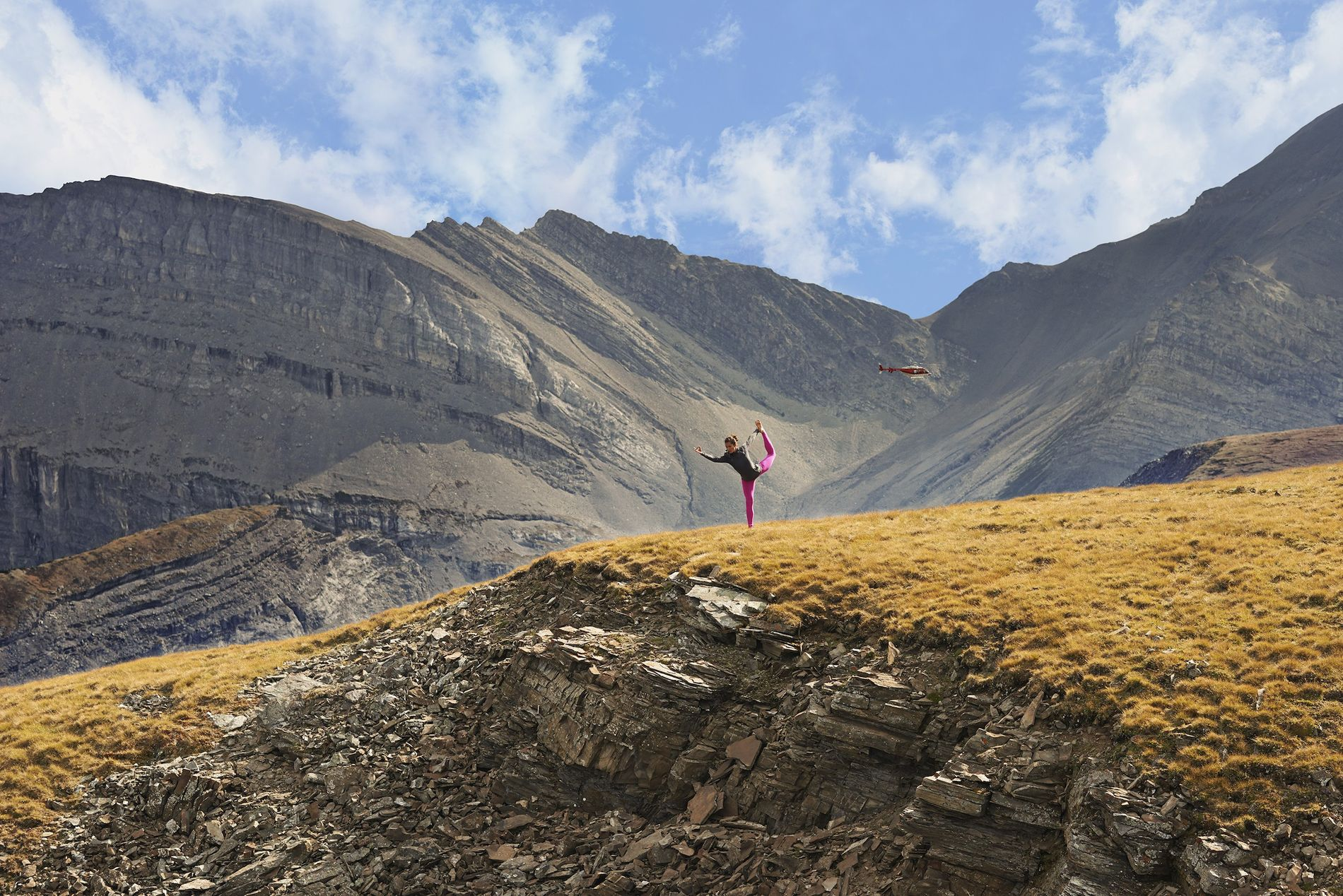 A mountaintop Hatha yoga session in the Canadian Rockies.