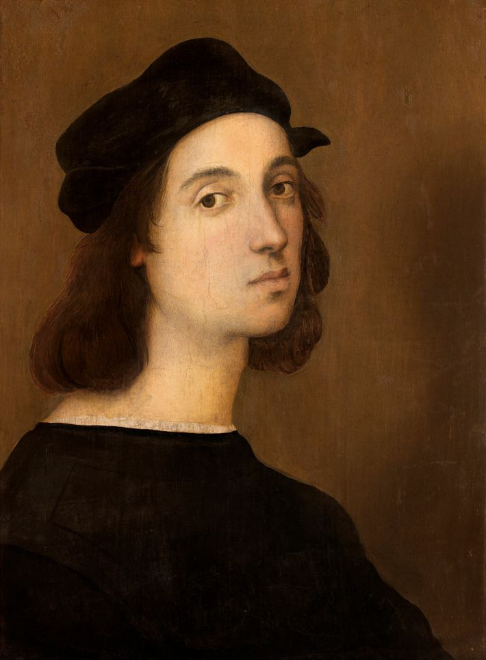 Newly arrived in Florence and in his early 20s, Raphael painted this self-portrait in tempera on ...