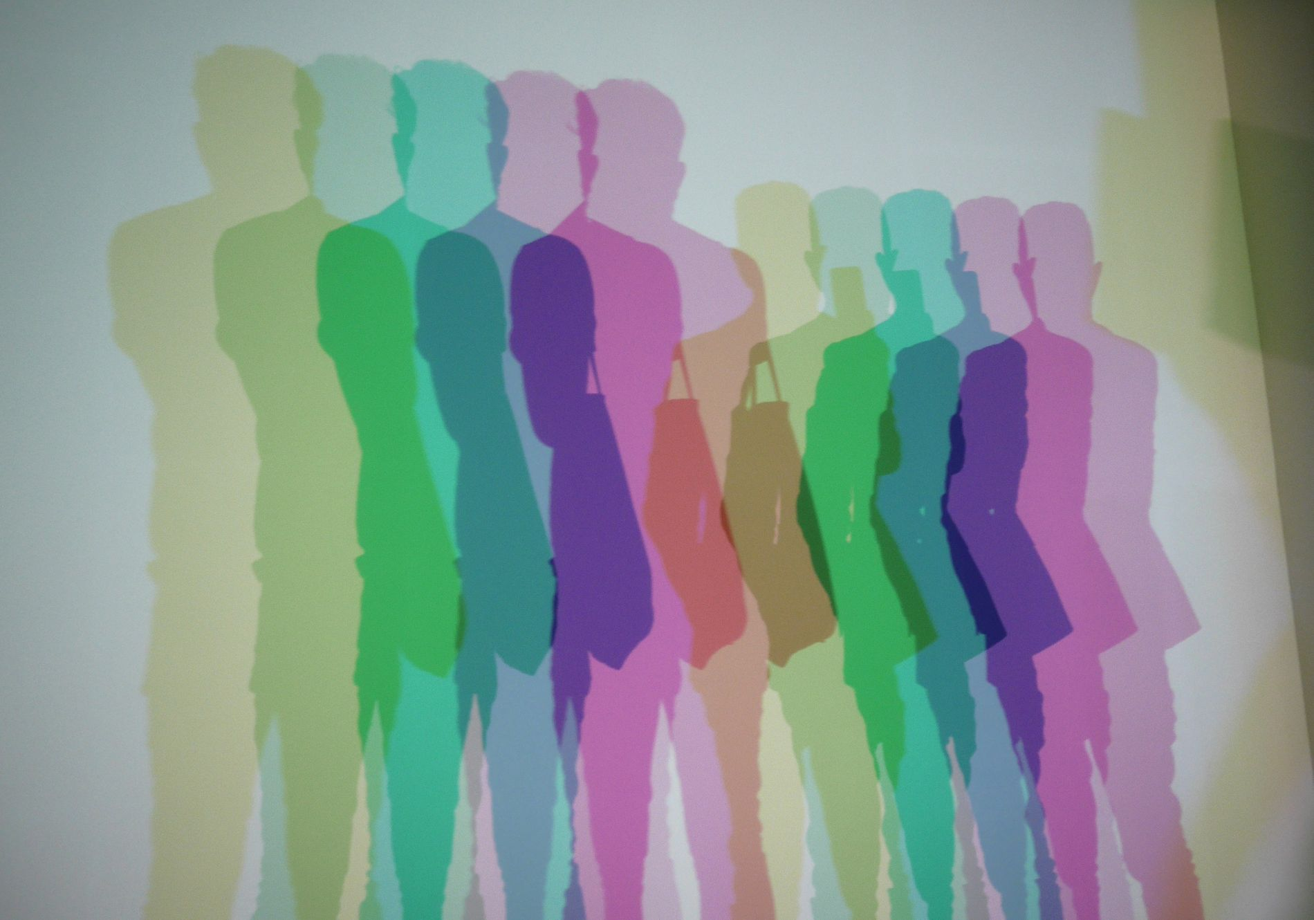 A popular room in the show,Your Uncertain Shadow (2010) uses colour projectors to create multiple rainbow-like ...