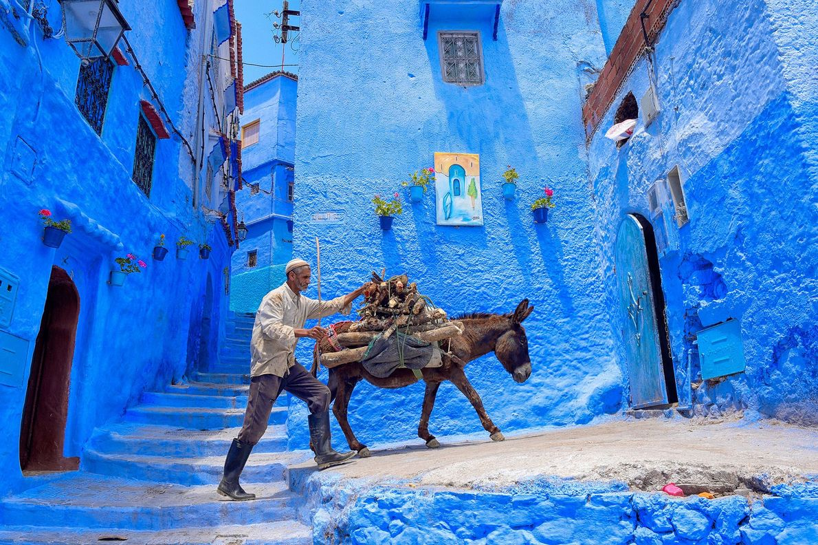 Chefchaouene, Morocco  Chefchaouen, in northwest Morocco, is known for the striking, blue-washed buildings of its old town, ...