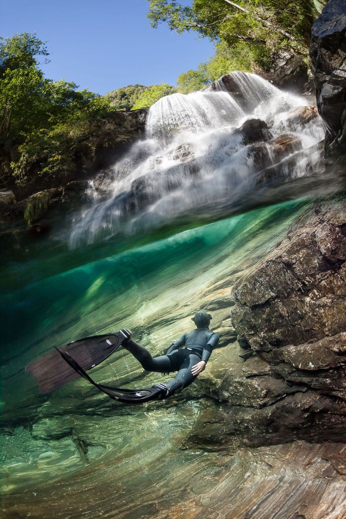 After a two-hour walk, Marc Henauer arrived at this waterfall along the Verzasca River. This composition, ...