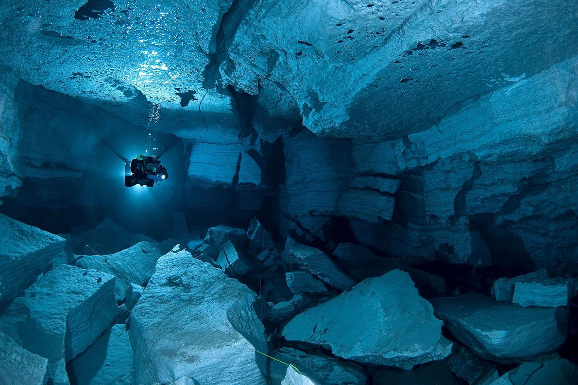 The world's largest gypsum cave, Orda Cave extends more than three miles in length. Its clear ...