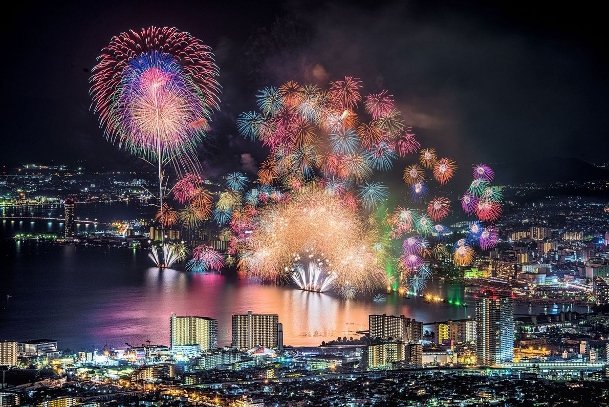 Japan Lake Biwa, Japan's largest lake, is the setting for an appropriately massive fireworks festival. Each summer ...