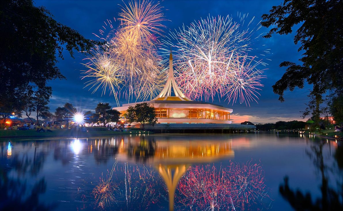 Thailand Fireworks explode over the golden spired Ratchamangkhala Pavilion in Suan Luang Rama IX park. This display ...