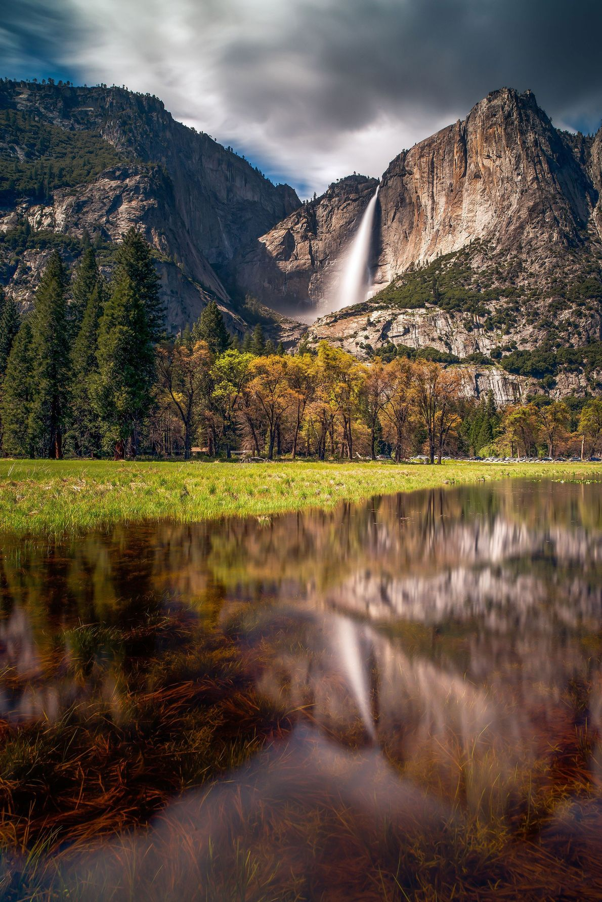 In late April, snowmelt increases the flow of the iconic, 2,425-foot waterfall.