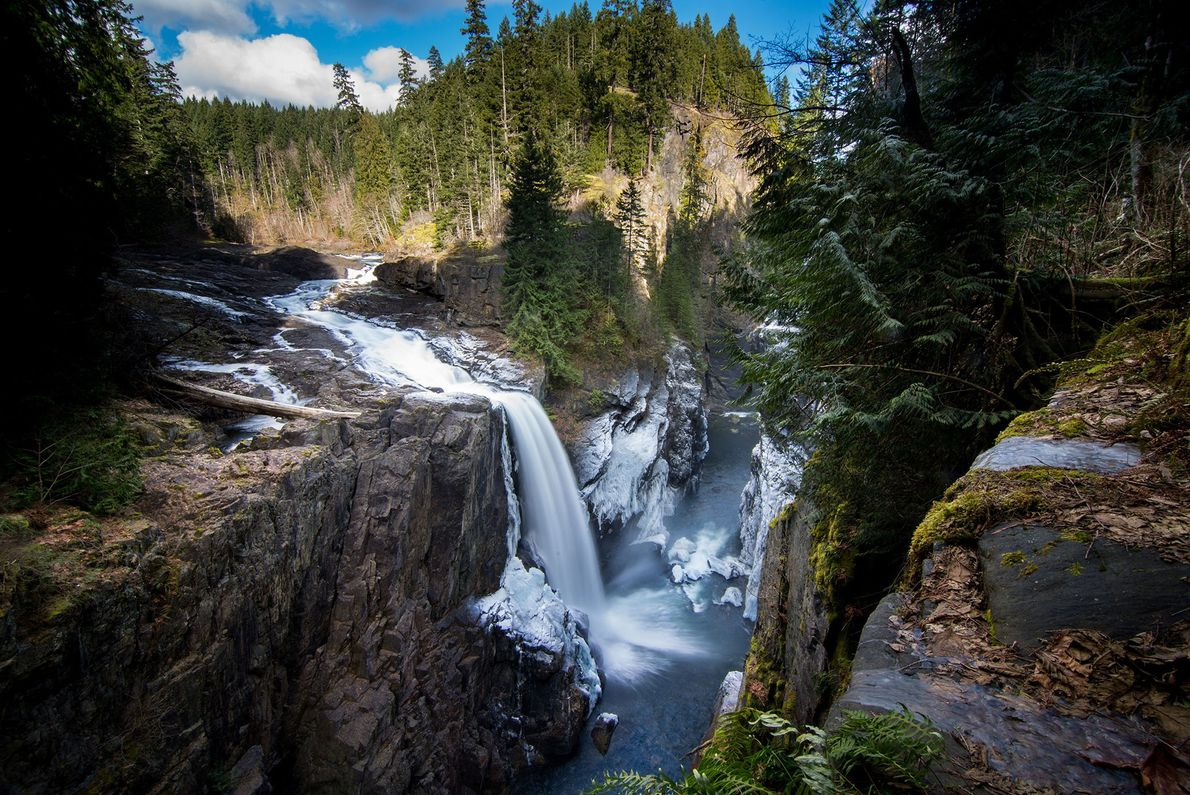 This falls of the Campbell River blankets the surrounding rock with an icy spray.