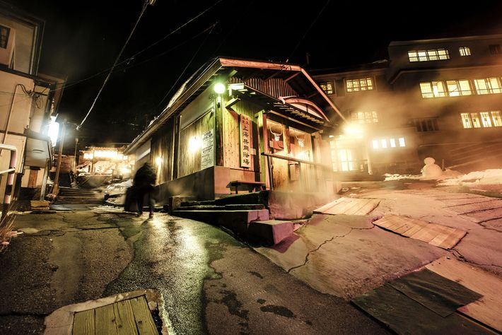 The steam baths and hot springs of Zao Onsen provide a welcome respite from the snowy ...