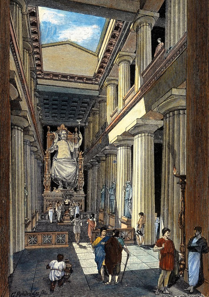 The statue of Zeus at Olympia (illustrated above by 19th-century artist Georg Rehlender) inspired Hadrian's own ...