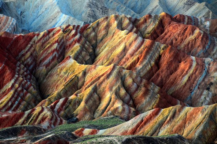 The colorful striations of the Zhangye Danxia landform in Zhangye, China.